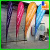 Les drapeaux faits sur commande de plume, affichage de plage de larme marque des stands de bannières
