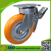 Aluminiumkern runde PU-Gesamtbremsen-Fußrolle