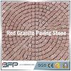 Pedra de pavimentação do granito vermelho da forma redonda - pedra engrenada do godo para a parte externa