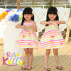 Summer colorido Cotton Striped Dress para Baby Princess Girls