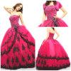 2012 A Strapless bonito magnífico - a linha faixa do plissado do revestimento da bainha Appliqued o vestido de Quinceanera do cetim de Paillette Tulle (QD-047)