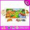 O brinquedo 2015 de madeira do enigma dos animais da floresta para miúdos, de madeira colorido aprende o enigma para crianças, enigma de madeira engraçado com botões W14m079