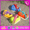 2015 New Kindergarten Enseignant Baby Wooden String Shoe Play Jouet, High Quality Educational Toddler Wooden Lacing Shoe Toy W02A089