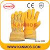 De gele Handschoen van het Werk van de Bedrijfsveiligheid van het Leer van de Korrel van de Zweep (12007)