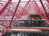 Edificio de marco verde, estructura de acero del edificio comercial prefabricado