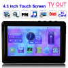 4.3 polegadas touch screen 8GB mp5 player, suporte de rádio FM, E-book, jogos, TV fora