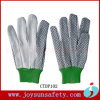 Перчатки руки холстины безопасности работая белым защитным поставленные точки хлопком (CTDP)