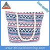 Sacchetto di spalla geometrico casuale della tela di canapa della stringa di torsione della stampa del plaid delle donne