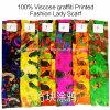 2017 heiße gedruckte Verkaufs-Form-Dame-dickflüssige Graffiti konzipieren Schal
