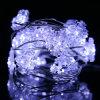 LEDの雪の薄片によってはストリング豆電球屋外ストリングライトによって飾られる庭のクリスマスが開花する