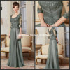 3/4 das luvas Lace Dark Sage Green A - linha Scoop Neckline Mother de The Bride Dress M71017