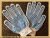 голубые поставленные точки PVC перчатки хлопка 7gague (XR-C03)
