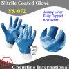 Джерси перчатка с голубой нитрила полным покрытием и с открытой спиной и вязать наручные / EN388: 4221 / Размер 8 , 9, 10 , 11 (YS-072)