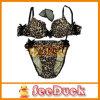 실크 Velvet Bra 및 Leopard Stripe Print (SD1226)를 가진 Panty Set