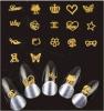 Fashinal 금 금속 3D 금속 못 예술 스티커 못 스티커