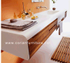 A parede de Corian pendurou a vaidade do banheiro com dissipadores