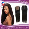 закрытие шнурка бразильских прямых волос Remy девственницы надкожицы 4  *4  Silk низкопробное верхнее (CSTB-A551)