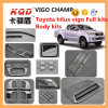 para Toyota Accessories Full Body Kit Parte Toyota Hilux Roof Rack Auto Sun Visor Hilux Fender Flares Chrome Trim Full Set Pickup Truck