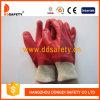 Красный PVC полно окунул перчатки с запястьем руки Dpv100 Knit вкладыша блокировки