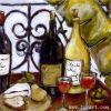 Pittura a olio Handmade sul formaggio e sul vino della tela di canapa