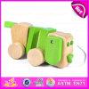 2015教育Cute String Wooden Dog Pull Toy、Toddlers、Hot Sale Wooden Animal Pull Toy W05b099のためのWooden Dog Pull Along Toy
