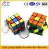 chaîne principale en plastique en métal de cube en 3D Rubik avec le porte-clés