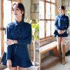 Платье краткости Falbala Джин отворотом корейской осени типа милое
