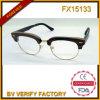Verres en bois faits sur commande de qualité en bois de lunettes de demi de trame Fx15133