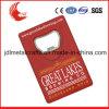 Консервооткрыватель бутылки кредитной карточки блестящего никелирования высекая логос