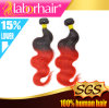 Trama brasiliana dei capelli umani di colore rosso di Ombre di toni del Virgin due di modo