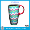 Wave Large-Capacity Printed Ceramic Coffee Mug com um Lid