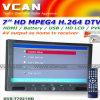 7  HD 800x480 Batterie HDMI des Schirm-MPEG2-4/H. 264 Fernsehapparat-Auflage (DVB-T7021HD)