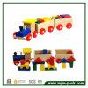 Trem de madeira contínuo educacional com 3 carruagens e blocos de apartamentos