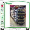 Mensola di visualizzazione del metallo del supermercato con la casella chiara