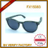 Óculos de sol da madeira redonda do vintage. Madeira 100% pura unisex Fx15083