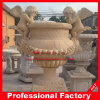 Высекать белый/желтый мраморный каменный Flowerpot