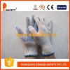 Перчатки хлопка отбеливателя, связанный голубой PVC ставят точки перчатки (DKP110)