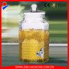 distributeur en verre de l'eau en verre de cachetage de choc de la boisson 3.8L avec le robinet d'eau