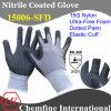15g нейлон трикотажные перчатки с ультра-тонкий нитрил Foam покрытия & Пунктирные Палм & Elastic манжеты