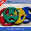 Placa de goma del Barbell del apretón del levantamiento de pesas olímpico tri