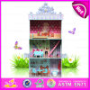 2015 Sale caldo DIY Doll House Toy per Kids, Pretend Toy Wooden Toy Doll House, Highquality Wooden Doll House Furniture W06A102