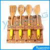 Ustensile de cuisine de 4 parties faisant cuire le positionnement en bois de cuillère de spatule