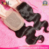 女王の美の毛の部分3partの方法自由な部品の絹の基礎閉鎖のブラジルの毛のレースの閉鎖