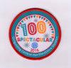 100 Entwurf rote Overlocking Kleidung gesponnenes Abzeichen