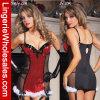 Lentejuelas rojas de moda con la ropa interior de la ropa interior atractiva de la gasa Negro