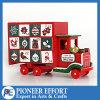 Carro de madera del calendario del advenimiento de la Navidad con 24 cajones para el regalo de la Navidad
