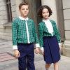 Uniforme escolar largo de la funda del color verde de la tela escocesa del verano