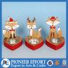 Diseño lindo de madera del Fox con los sostenedores de vela del metal para la Navidad