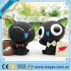 Decoração da tabela do gato preto do suporte da pena da resina do OEM