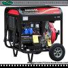 генератор 5kw 188fa тепловозный с 2 колесами и открытой рамкой (DG7000E-B)